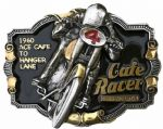Cafe Racer Gold and Silver Plated Motorcycle Belt Buckle with display stand. Code. PD6